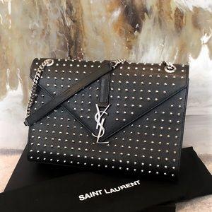 Rare Saint Laurent Large Studded Envelope Satchel